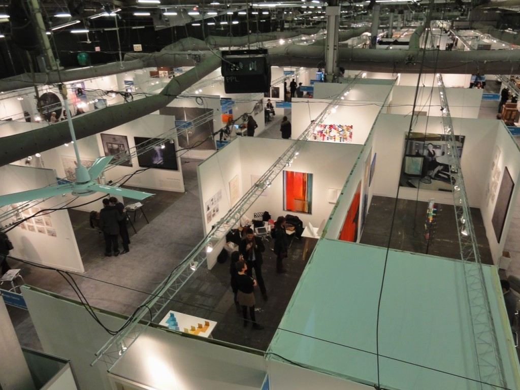 The Armory Show at Pier 94 seen from the stairway to Pier 92