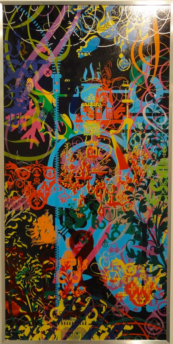 Ryan McGuinness, Finding Meaning, 2013, Acrylic on wood panel in artist's frame, 48 x 24 inches